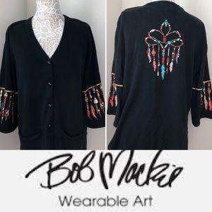 Bob Mackie Wearable Art Cardigan Pockets Sweater L